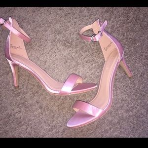 Pink Open Toe Heels with ankle strap
